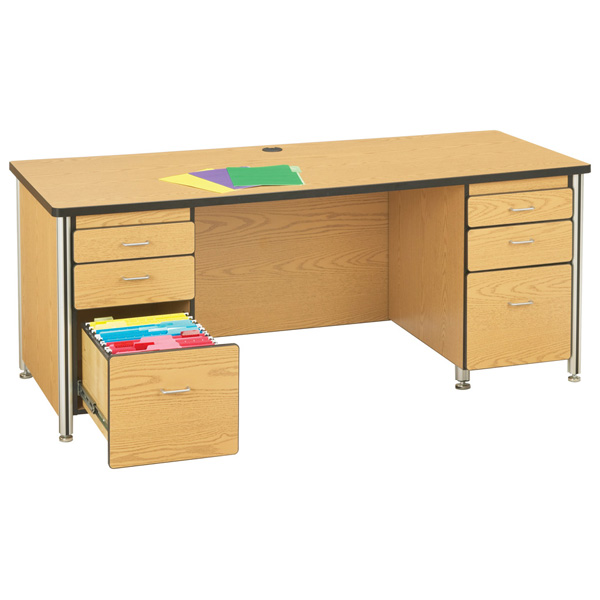 JONTI CRAFT  72 INCH TEACHERS' DESK w/2 PEDESTALS - YELLOW