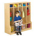 5 Section Coat Locker with Step