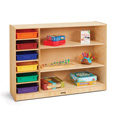 Jonti-Craft� Adjustable Combo Mobile Straight-Shelf - with colored Paper-Trays