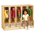 TODDLER COAT LOCKER w/STEP With clear trays