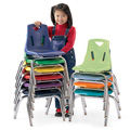 Stacking Chairs with Chrome-Plated Legs